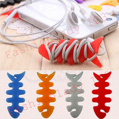 Hot 10PCS Silicone Fish Bone Headphone Earphone Cord Cable Winder Wrap Holder YX