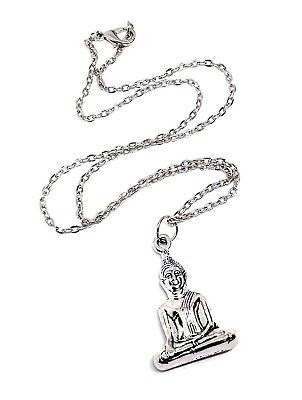"Sitting Buddha Pendant Buddhist Thai 3D 18"" Chain Necklace Silver Tone Jewellery"