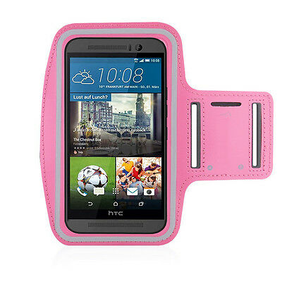 HTC One M9 Light Pink Sports Fitness Running Armband Tie Adjustable