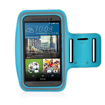HTC One M9 Light Blue Sports Fitness Running Armband Tie Adjustable