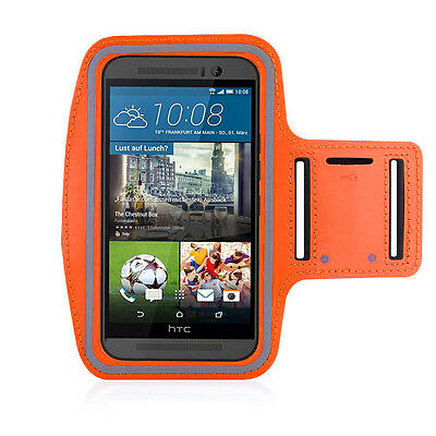 HTC One M9 Orange Sports Fitness Running Armband Tie Adjustable