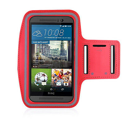 HTC One M9 Red Sports Fitness Running Armband Tie Adjustable