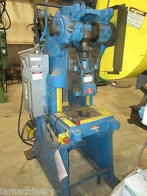 "30 Ton Alva Allen OBI Power Punch Press 19"" x 13"" Bed Hole Metal Stamping Press"
