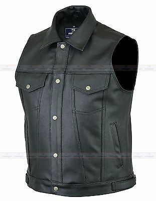 Motorbike  Leather Waistcoat / Vest Jeans Style for Bikers and Fashion