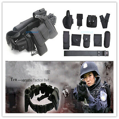 Black Tactical Nylon Police Law Enforcement Equitment Guard Duty Belt Utility