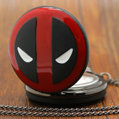Movie Red Deadpool Mask Analog Quartz Pocket Watch Pendant Necklace Chain Mens