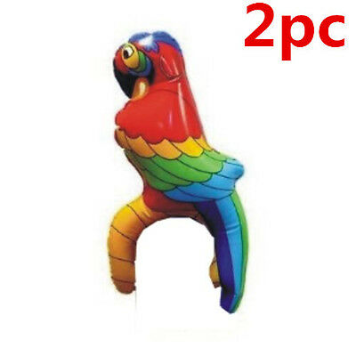 2x Inflatable Blow Up Parrot Bird Hawaiian Tropical Pirate Party Decoration 28cm
