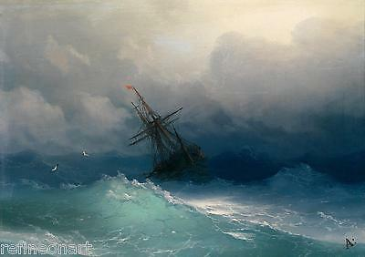 Ivan Aivazovsky Ship on Stormy Seas Oil Painting Giclee Canvas Print repro