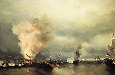 Ivan Aivazovsky Battle of Vyborg Bay Oil Painting Giclee Canvas Print repro
