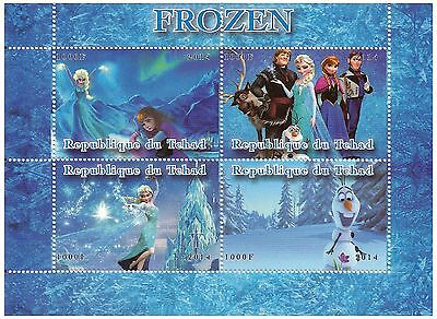 Chad Stamps 2014 Frozen Disney Movie world of ice with 4 stamps / MNH