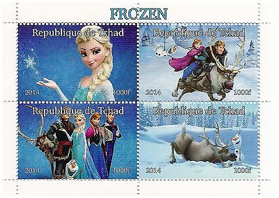 Chad Stamps 2014 Disney Frozen miniature block of four stamps / MNH