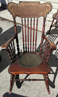Antique Wooden Rocking Chair Circa 1900 Leather Seat Inlay