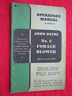 VINTAGE ORIGINAL JOHN DEERE No. 2 FORAGE BLOWER OPERATORS MANUAL