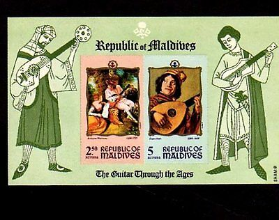 Maldives - 1970 - Guitar Through The Ages - Music - Mint - Imperf S/sheet!