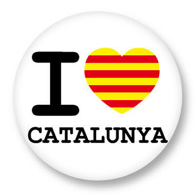 Pin Button Badge Ø38mm I love Catalogne Catalunya Cataluña Catalonha