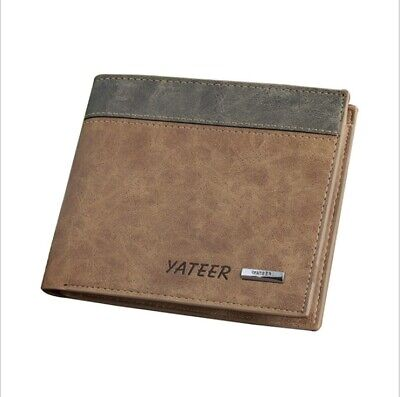 Luxury High Quality Mens Black Leather Wallet Bifold Credit Card ID Holder Gift