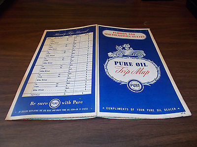 1947 Pure Florida and Southeastern States Vintage Road Map / Nice Covers !!