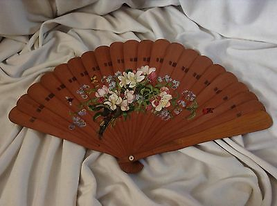 Antique Hungarian German Saxon theatre fan Flower Insect Bug Animal Handpainted