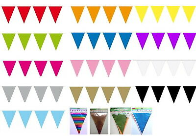 10M (or 15M or 20m) Bunting with triangular or rectangular plastic flags