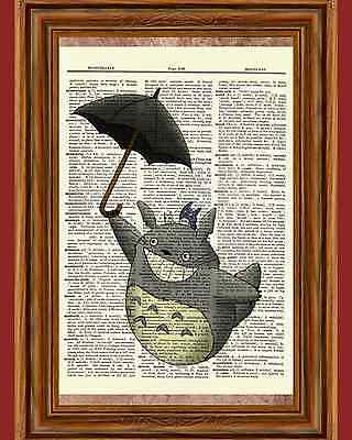 My Neighbor Totoro Dictionary Art Print Poster Picture Anime Movie Umbrella