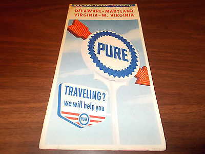 1962 Pure Oil Delaware/Maryland/Virginia/West Virginia Vintage Road Map / 62-A