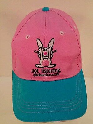 It's Happy Bunny Not Listening Aqua and Pink Velcroback Hat Cap Jim Benton