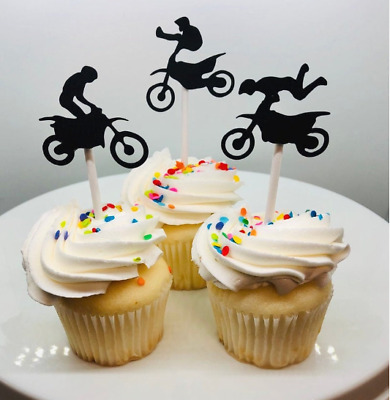 Hand Crafted 12 Dirt Biking Cupcake Toppers  (239C)