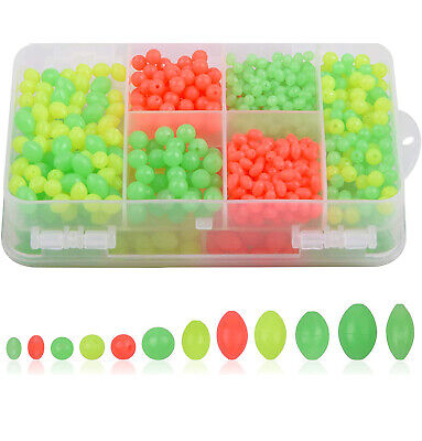 1000pcs Plastic Beads Oval/Round Hard Fishing Beads Fishing Lure Tackle Eggs