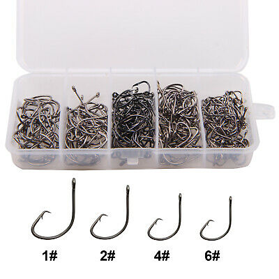 200pcs Offset Sport Circle Fishing Hooks Black High Carbon Steel Fish Hook 1#-6#
