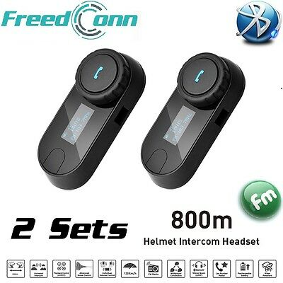 2x BT 800M Moto Intercomunicador Bluetooth Auriculares Interphone Interfono FM