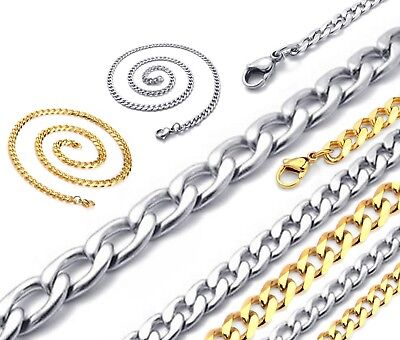 """04-8mm 18-30"""" Mens Womens Children Unisex Silver Gold Curb Link Chain Necklace"""