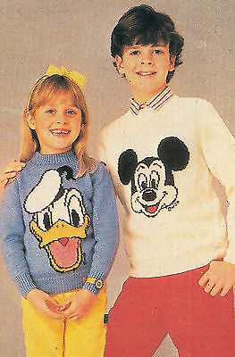 Mickey Mouse & Donald Duck Childrens Sweater Jumper Knitting Pattern Vintage