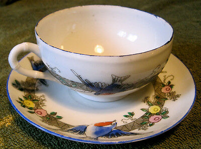 Very Old - Vintage Japanese Fine Porcelain China BLUE BIRD Cup and Saucer Set