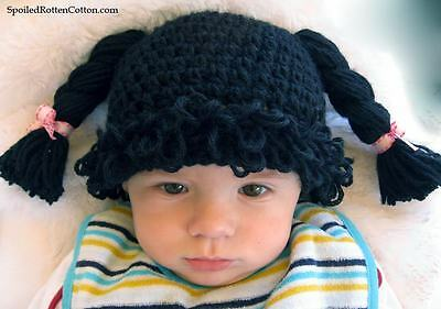 24f8c73bc5c Cabbage Patch Kid Crochet Hat Wig Black Pigtail Braids Infant Toddler Adult