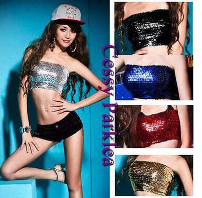 Sequins Jazz Dancewear Club Tube Top Bust Tube  Black Pink Blue Green 8 Colours