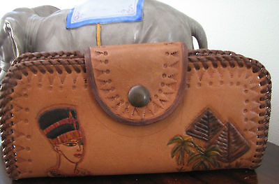 Vintage Egyptian Tooled Leather Fold Out Purse