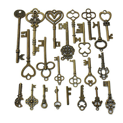 24PCS Mixed Antique Vintage Retro Old Look Skeleton Key Lot Crown Bow Charm Pack
