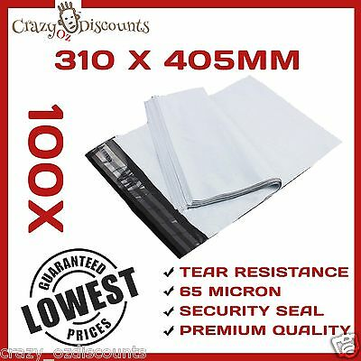100 Plastic Poly Courier Bag Mailer Mailing  Satchel Post Plastic New 310X405MM