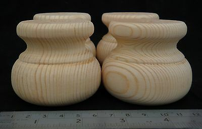Small Pine Moulded Bun Foot 66mm * 56mm Wooden Furniture Feet *CHOOSE QUANTITY*