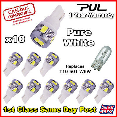 T10 Car Bulbs Led Error Free Canbus 6 Smd Pure White W5W 501 Side Light Bulb
