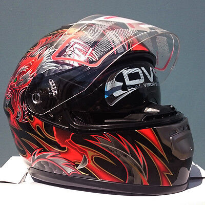 Full face road helmet adult sizes, Dragon, Aust. Std, AS/NZS1698, dual visor DVS