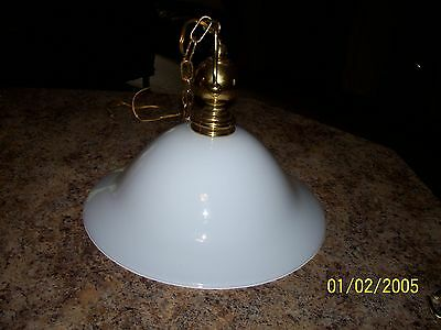 "White Milk Glass Shade 15 1/2"" Pendant, Chandelier Light Fixture Brass"