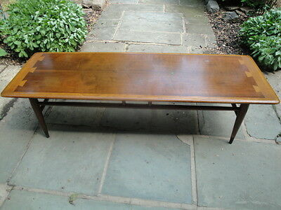 Mid Century 1960 Lane Coffee Table Andre Bus Dovetail Danish Modern