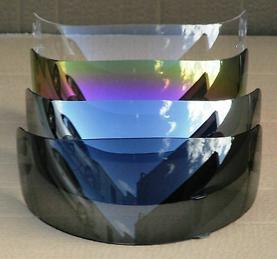 Visor for full face motorcycle road helmet, clear, tinted, smoke, mirror, silver