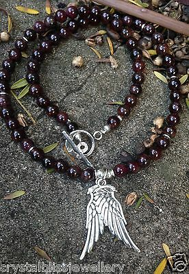ॐCrystal Blissॐ Garnet Spiritual Yoga Reiki Healing Necklace Angel Wing Pendant