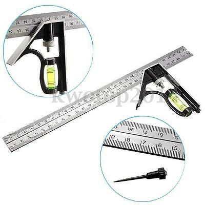 "12"" Adjustable Portable Sliding Combination Try Square Right Angle Work Tools"