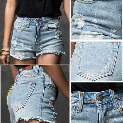 UK Vintage Womens Denim High Waisted Shorts Jeans Hotpants Sotnewash Ripped New