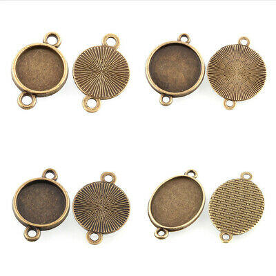 Vintage Alloy Pendant Cabochon Settings Antique Bronze Connector DIY Tray