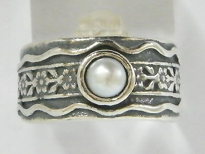 R01302SP Shablool Didae Sterling Silver Ring Round Pearl White Ladies Women