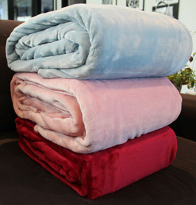 NEW Coral Fleece Blanket Queen Size PINK Colour WARM SOFT WASHABLE 200x240cm
